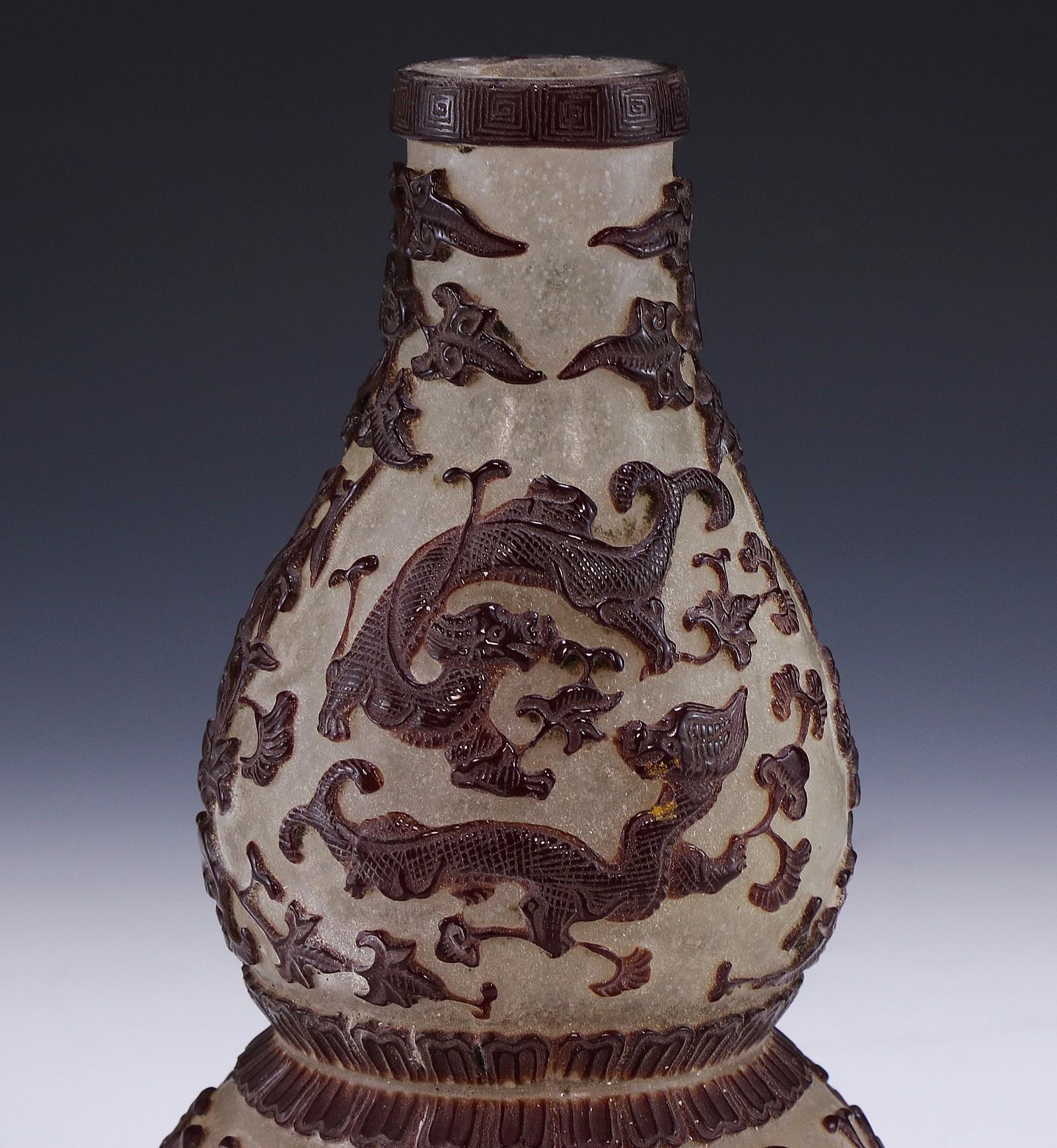 A Chinese Antique Overlay Peking Glass Gourd Vase Ebay